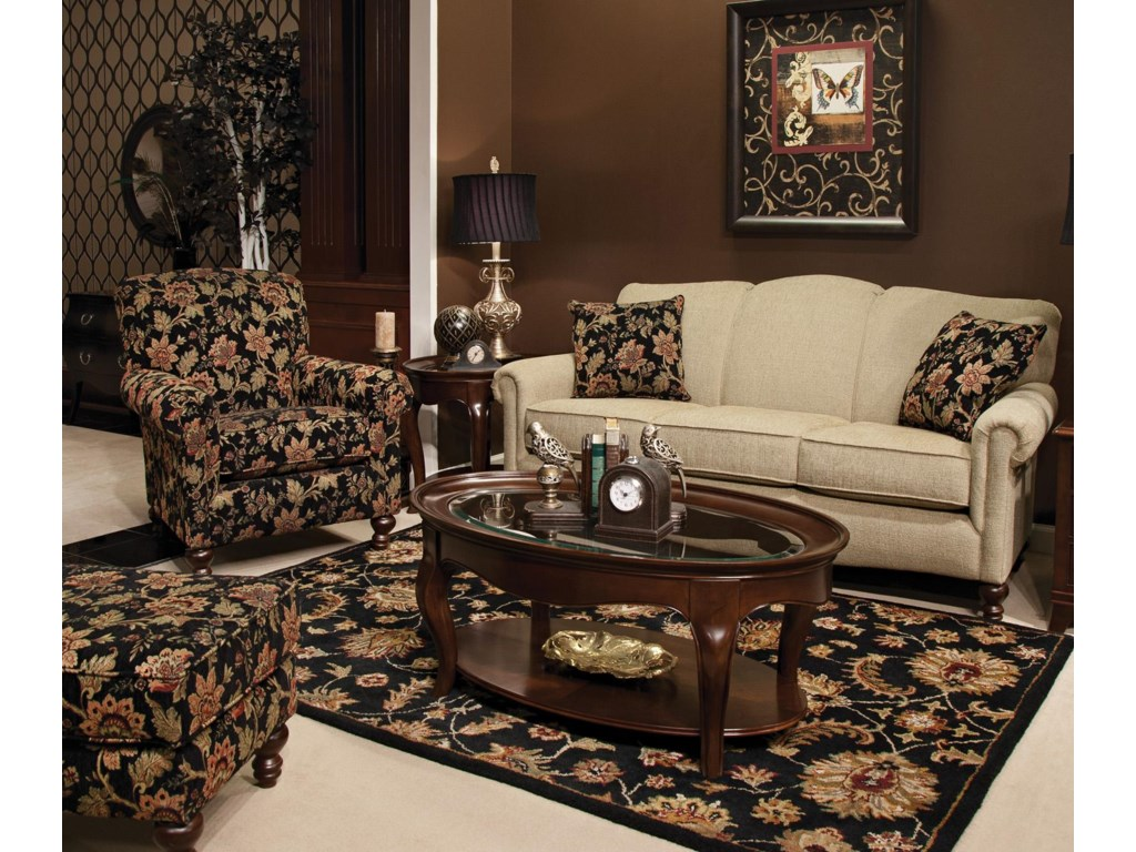 Shown with Coordinating Collection Sofa and Chair. Ottoman Shown Left Corner.