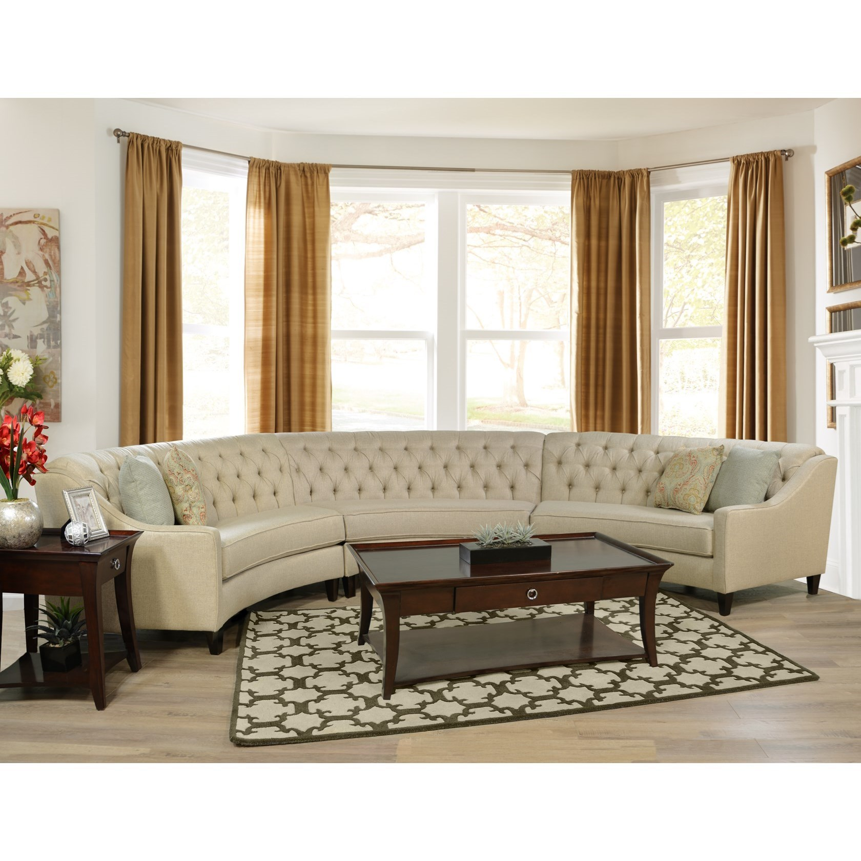 England Finneran 3 Piece Curved Sectional Sofa | Novello Home Furnishings | Sectional  Sofas
