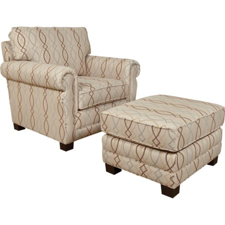 Arm Chair and Footrest Ottoman