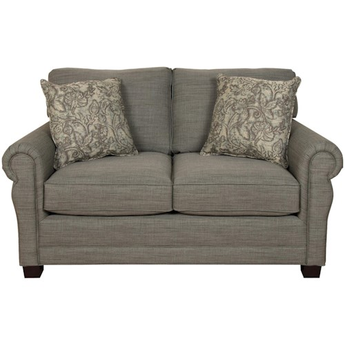 England Green Two Cushion Loveseat with Traditional Style