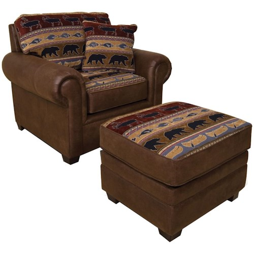 England Jaden Upholstered Chair and Ottoman with Tapered Block Feet