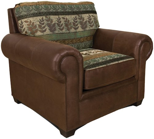 England Jaden Upholstered Chair with Wide Rolled Arms
