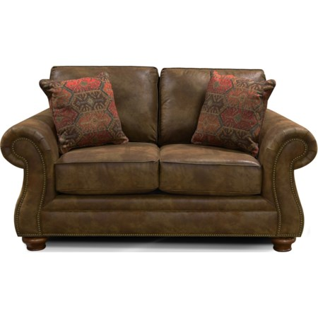 Two Cushion Loveseat with Nailheads
