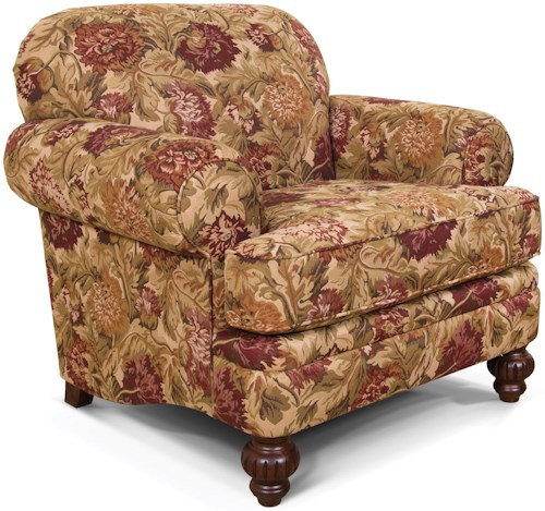 England Kathy Traditional Rolled Arm Chair With Carved Wooden Legs