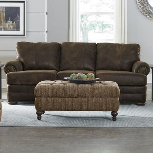 Contemporary England Knox All Leather Sofa with Nailhead Trim Style - Cool nailhead leather sofa Contemporary