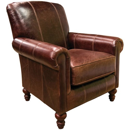 England Linden Traditional Upholstered Chair with Turned Legs