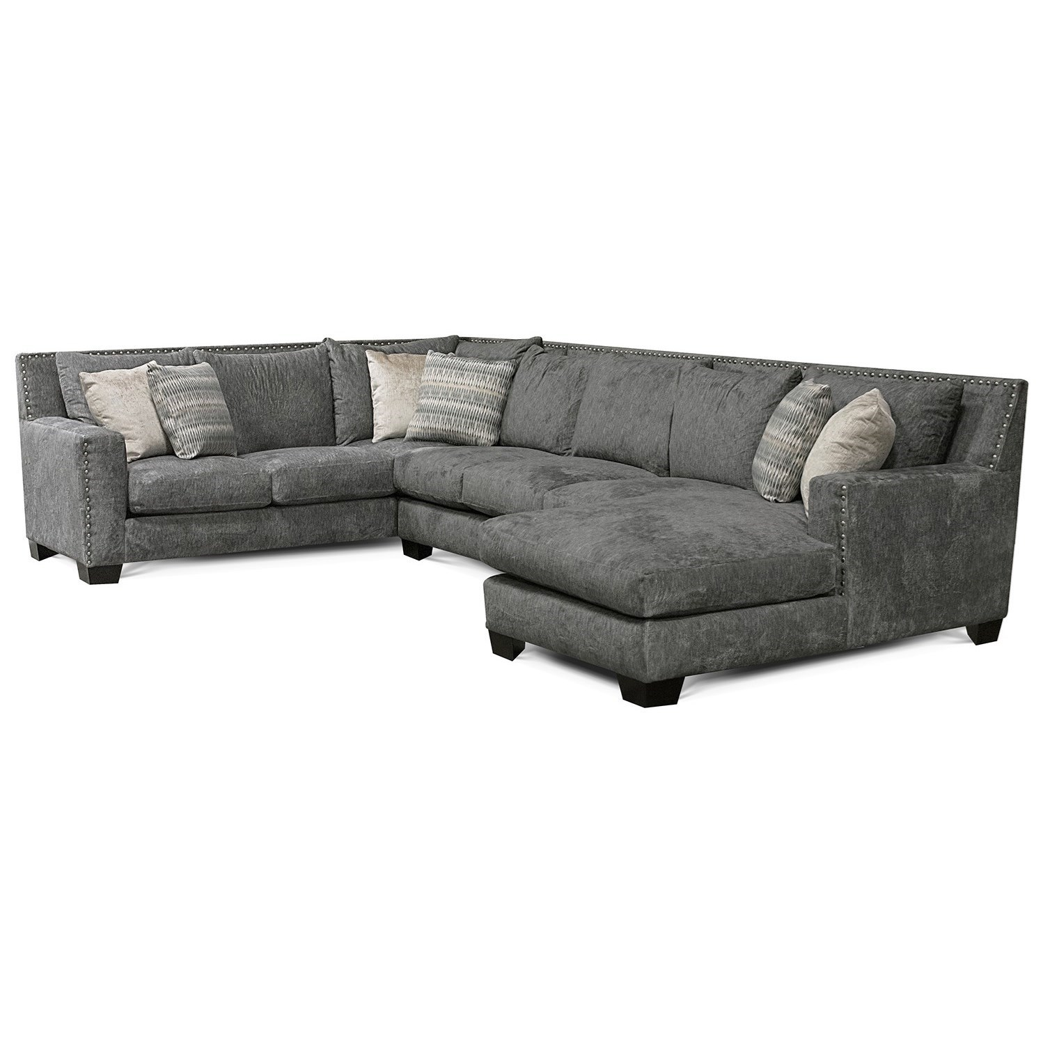 Picture of: England Luckenbach Contemporary Sectional Sofa With Chaise And Nailhead Trim Rune S Furniture Sectional Sofas