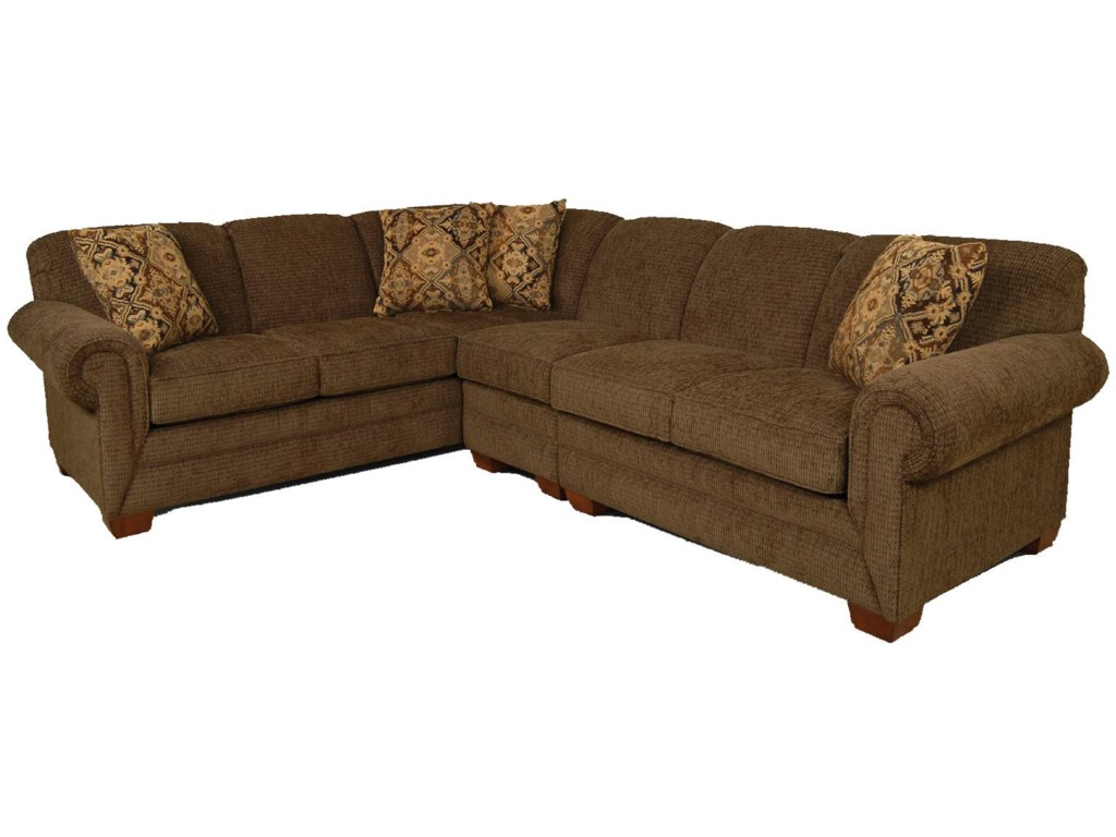 Monroe 3 Piece Sectional Sofa with LAF Loveseat by England at Dunk & Bright  Furniture
