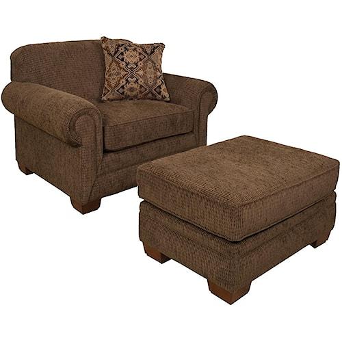 England Monroe Traditional Upholstered Chair & a Half and Ottoman