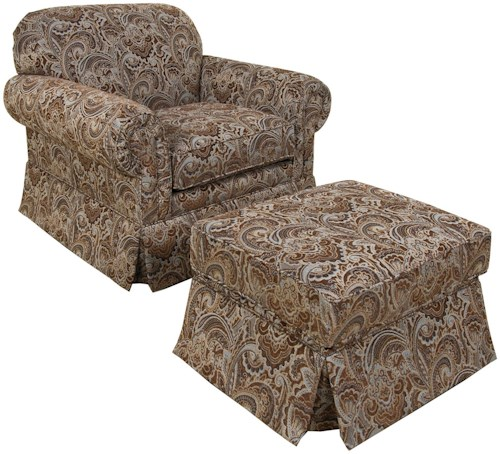 England Nancy Classic Upholstered Chair and Ottoman