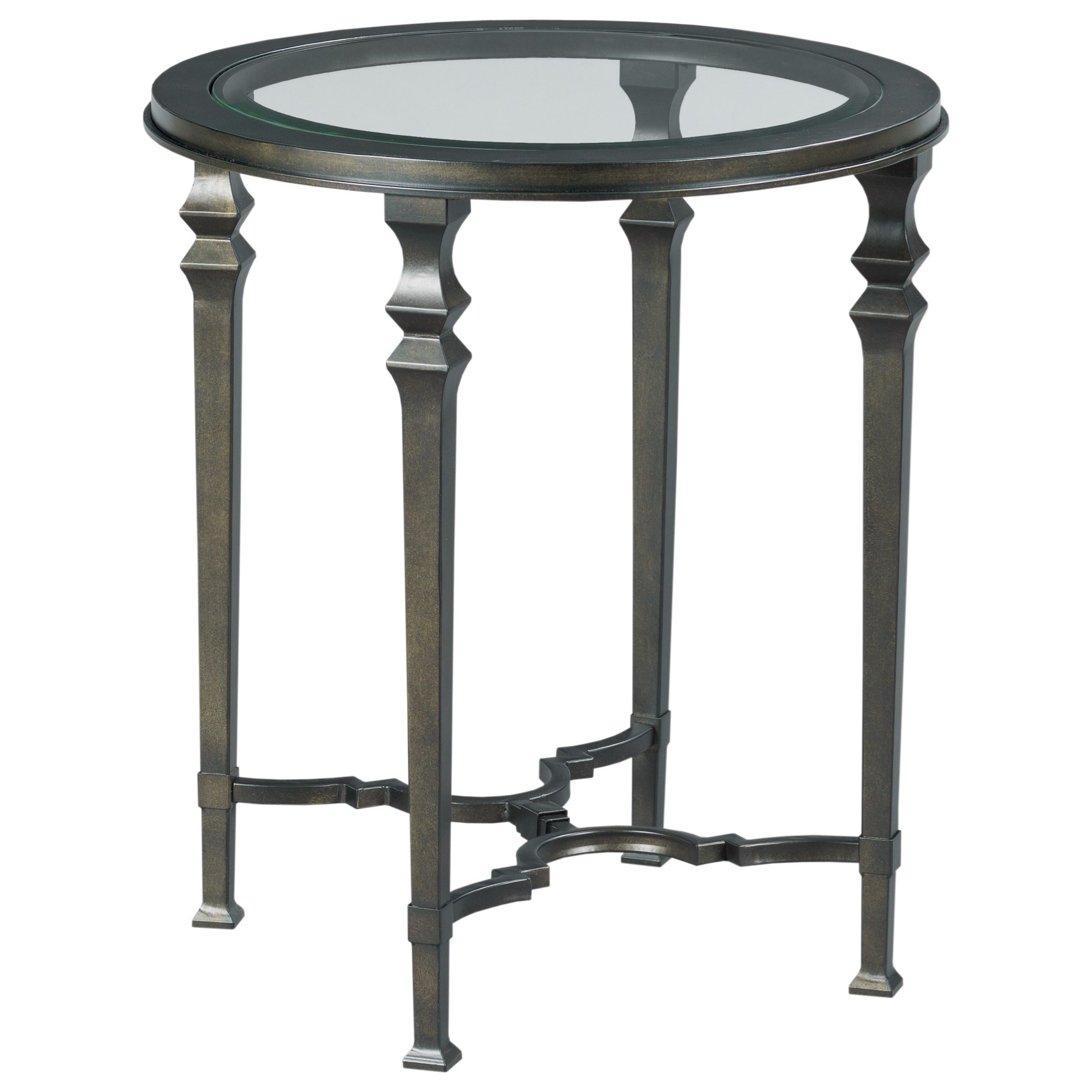 Metal Round End Table with Glass Top