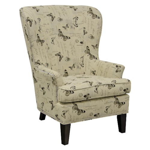 England Saylor Wing Chair with Nailheads and Contemporary Style