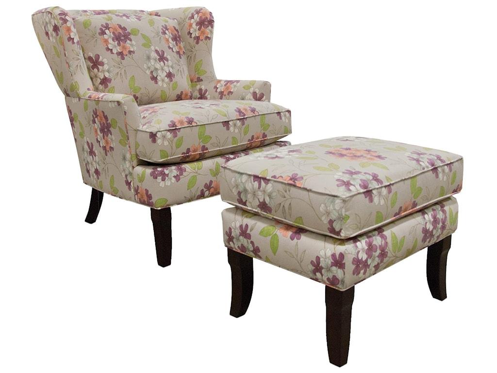 England Scarlet Living Room Chair and Ottoman