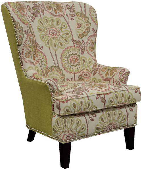 England Smith Living Room Arm Chair with Wing Style with Nailheads