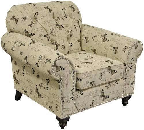 England Stacy Chair with Nailheads and Tufted Seat Back