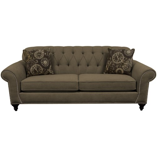 England Stacy Sofa with Nailheads and Button Tufted Seat Back