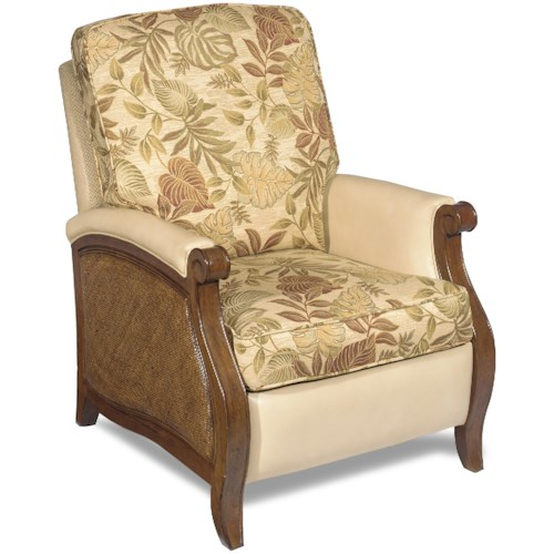 Hooker Furniture Windward Push Recliner with Raffia Accents