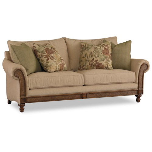 Hooker Furniture Windward Sofa with Rolled Arm, Exposed Wood and Raffia Accents