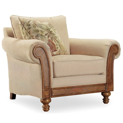 Hamilton Home Windward Upholstered Rolled Arm Chair with Exposed Wood and Raffia Palm Accents