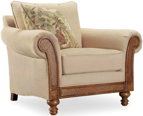 Hooker Furniture Windward Upholstered Rolled Arm Chair with Exposed Wood and Raffia Palm Accents