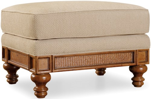 Hamilton Home Windward Raffia Ottoman with Turned Feet