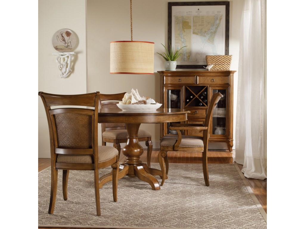 Shown with Raffia Side Chairs, Pedestal Dining Table, and Display Buffet