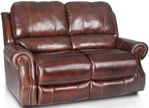 Era Nouveau 18028 Traditional Dual Power Reclining Loveseat with Rolled Arms and Nailhead Trim