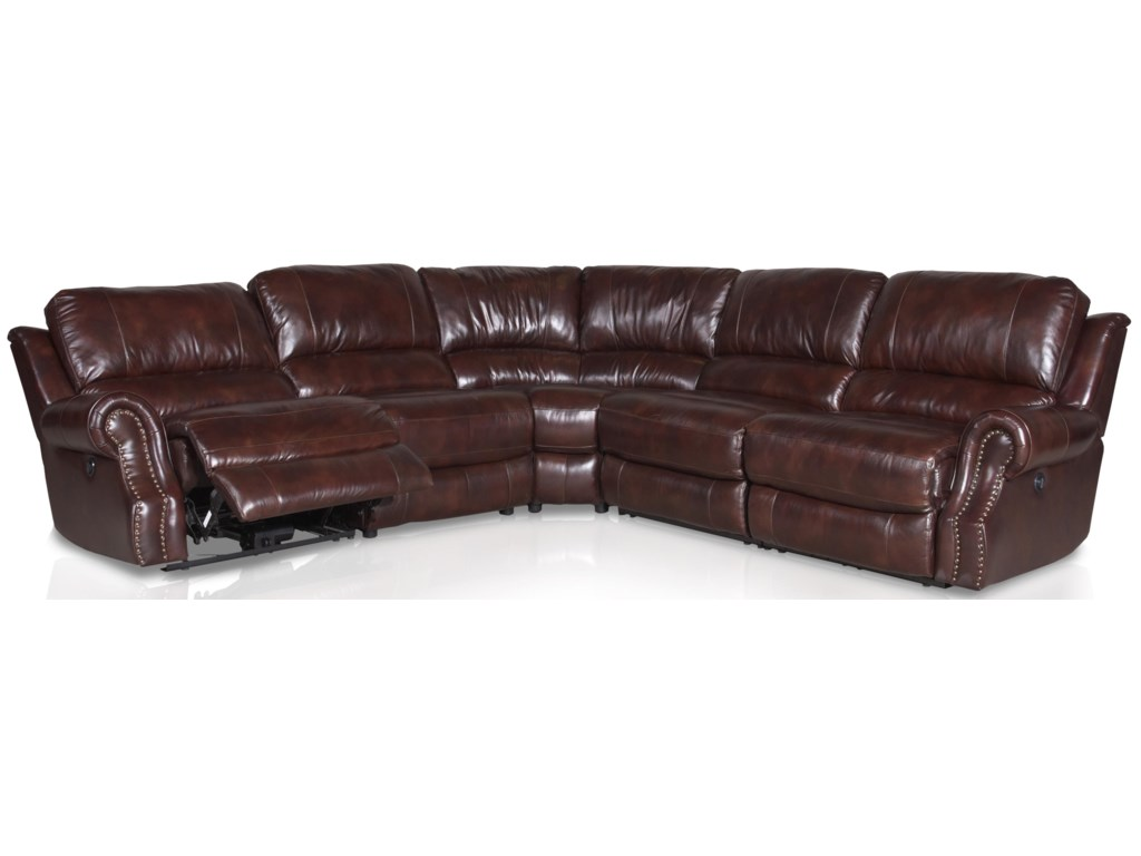 18028 Leather Reclining Sectional Sofa with Rolled Arms and Nail Head by  Era Nouveau at John V Schultz Furniture