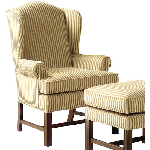 Grove Park 1072 Upholstered Wing Chair with High Exposed Wood Leg