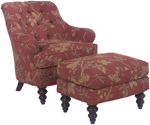 Grove Park 1141 Upholstered Chair & Ottoman Set with Tufted Back Details