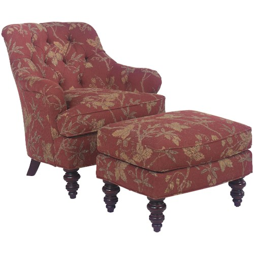 Fairfield 1141 Upholstered Chair & Ottoman Set with Tufted Back Details