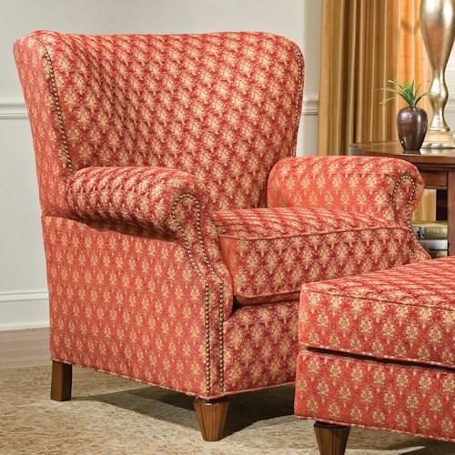 Fairfield 1403 Upholstered Wing Lounge Chair with Tapered Legs