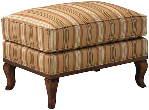 Grove Park 1416 Ottoman with Exposed Wood Cabriole Legs