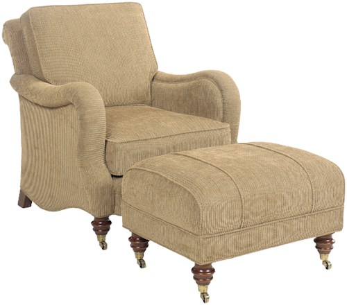 Grove Park 1458 Traditional Upholstered Chair and Ottoman with Turned Legs and Casters