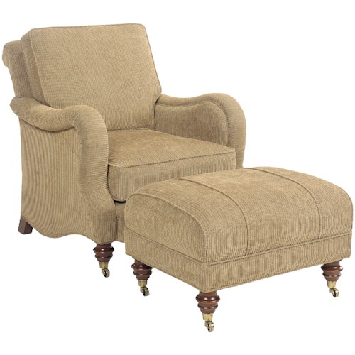 Fairfield 1458 Traditional Upholstered Chair and Ottoman with Turned Legs and Casters