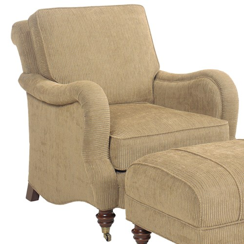 Fairfield 1458 Upholstered Lounge Chair with Turned Feet and Casters