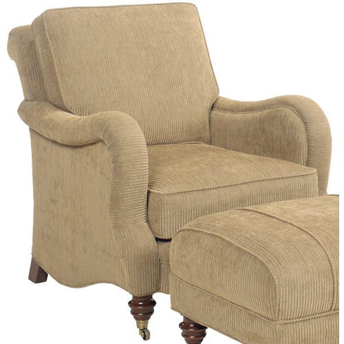 Grove Park 1458 Upholstered Lounge Chair with Turned Feet and Casters