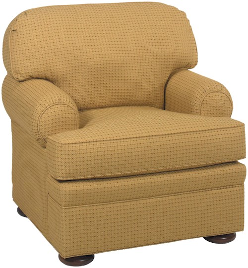 Fairfield 3722 Casual Upholstered Lounge Chair with Bun Feet