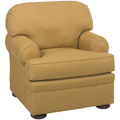 Grove Park 3722 Casual Upholstered Lounge Chair with Bun Feet