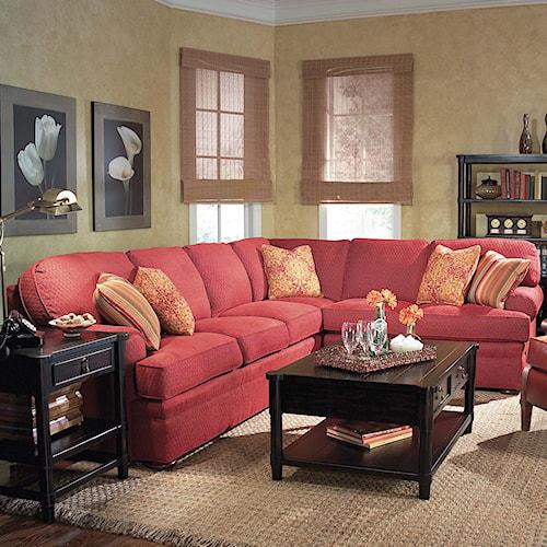 Fairfield 3722 2 Piece Sectional Sofa with Bun Feet