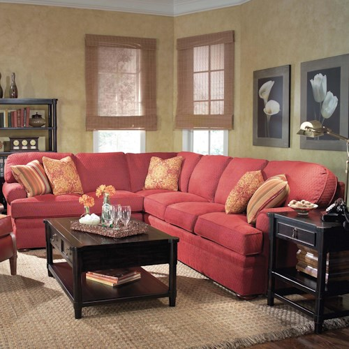 Fairfield 3722 2 Piece Sectional Sofa with Bun Feet