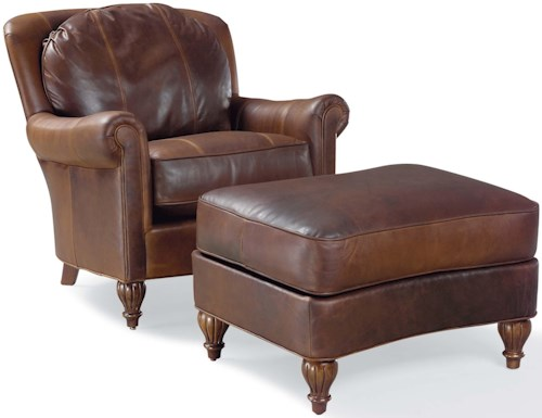 Grove Park 3724 Traditional Chair and Ottoman with Turned Wood Feet