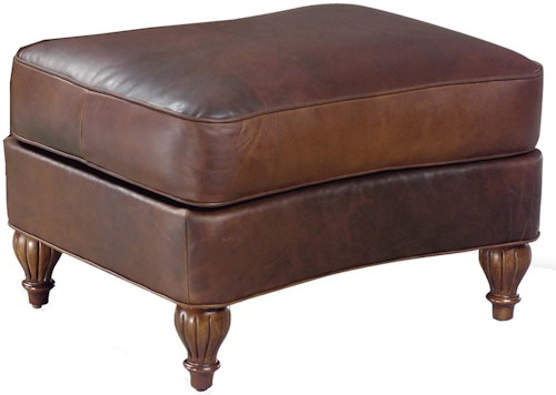 Fairfield 3724 Traditional Ottoman with Turned Wood Feet