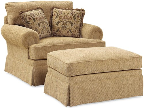 Grove Park 3736 Oversized Skirted Lounge Chair and Ottoman Combination