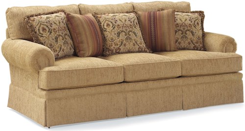Fairfield 3736 Skirted Stationary Sofa with Loose Accent Pillows