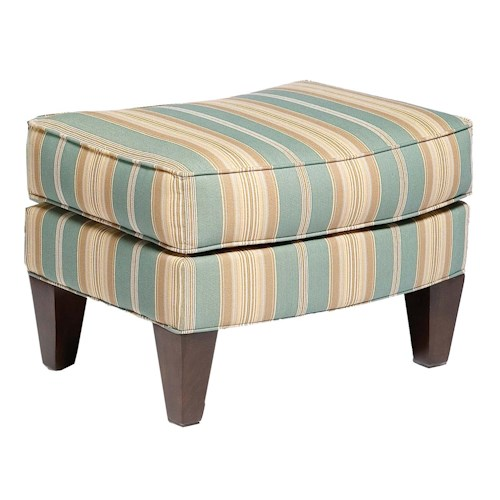 Fairfield 5706 Box-Faced Ottoman with Tapered Wood Legs