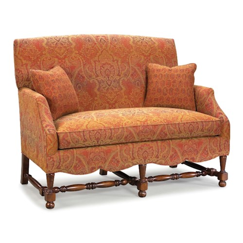 Fairfield 5758 traditional stationary settee with turned for Furniture 500 companies