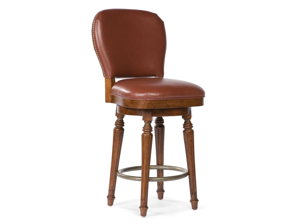 Fairfield Barstools Leather Counter Stool With Nailhead Trim