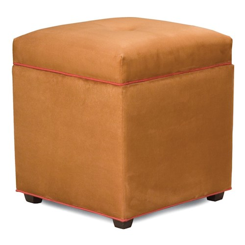 Fairfield Ottomans Storage Ottoman with Small Tapered Wood Legs