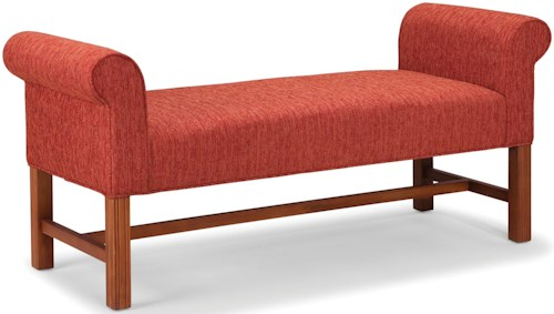 Fairfield Benches Bench with High Rolled Arms and Stretchers